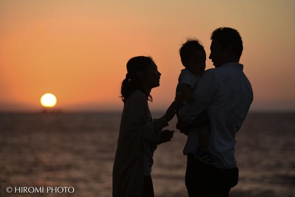 朝日が昇る時間に家族写真@湯河原