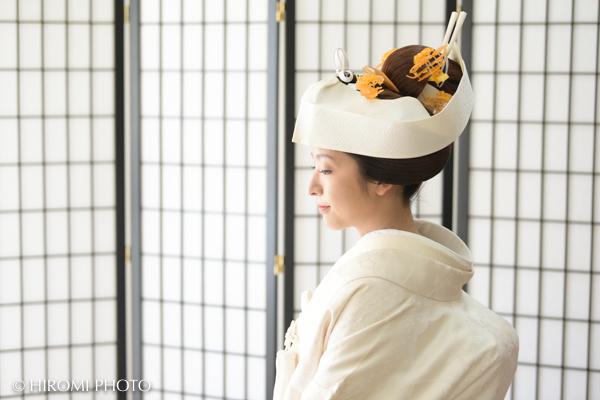 地毛結いの日本髪で結婚記念写真