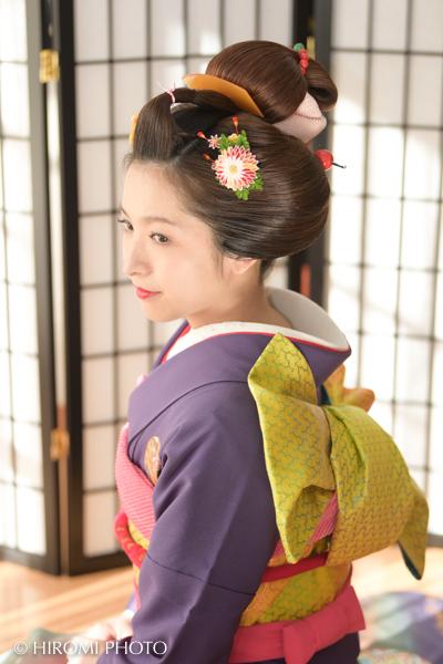 地毛結いの日本髪で振袖撮影