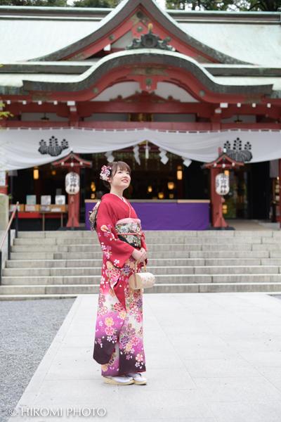 成人式の前撮りを地域の神社で
